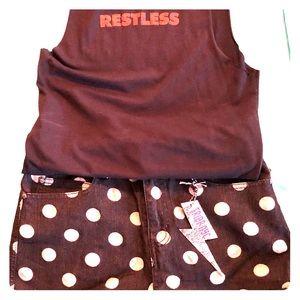 Tripp NYC denim polka dot shorts NWT